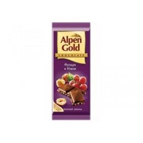 Alpen Gold изюм-фундук шоколад молочный 90гр