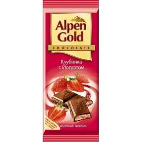 Alpen Gold клубника с йогуртом шоколад молочный 90гр