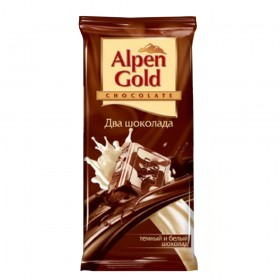 Alpen Gold два шоколада шоколад темный и белый 90гр