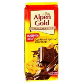 Alpen Gold соленый арахис и крекер шоколад молочный 90гр
