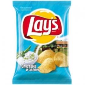 Lays сметана и зелень чипсы 80гр