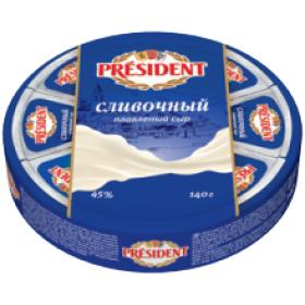 President сливочный сыр плавленый 140г