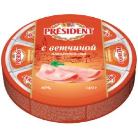 President с ветчиной сыр плавленый 140г